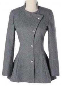 Kratki sivi strukirani kaput