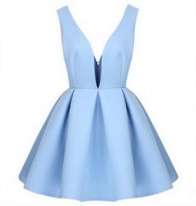 Plava i crna mini haljina
